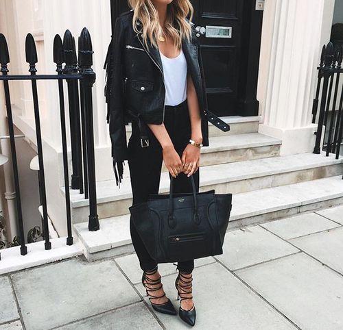 leather jacket + celine + heels
