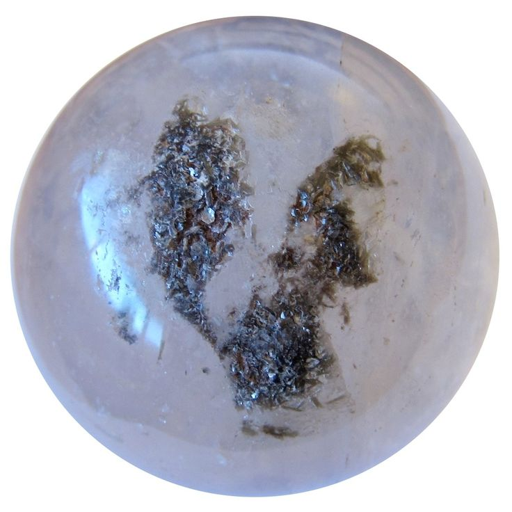 "Smoky Quartz Ball 67 Black Hole Chlorite Eye & Green Phantom Angel Protector Energy Stone Sphere 2.8"""