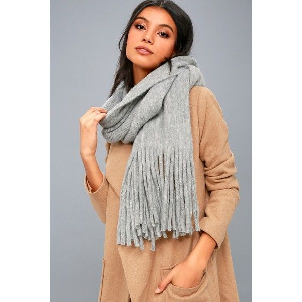Billabong  On the Fringes Heather Grey Scarf  Lulus ($35) ❤ liked on Polyvore featuring accessories, scarves, grey, billabong, gray shawl, oblong scarves, fringe shawl and gray scarves