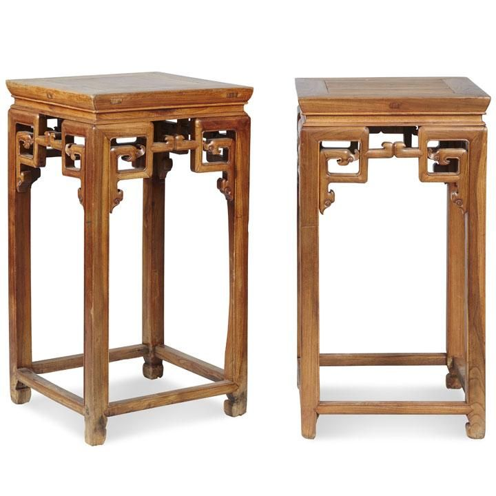Pair Of Chinese Antique Flower Stands Beech Wood Flower Stands