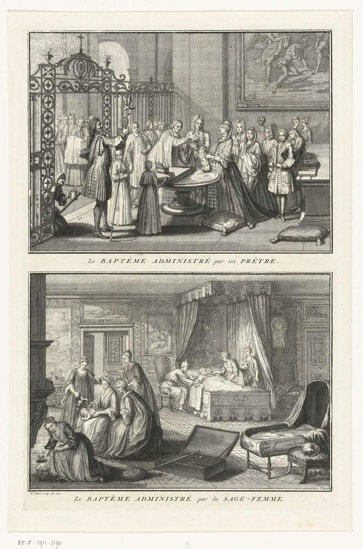 Bernard Picart | Doopbediening door een priester / Doopbediening door een vroedvrouw, Bernard Picart, 1722 | Blad met twee voorstellingen van een rooms-katholieke doop. Boven: In een kerk doopt een priester een baby bij het doopvont. Onder: Kraamkamer met een vrouw in een hemelbed. Links doopt de vroedvrouw de pasgeboren baby, omdat het kind dreigt te sterven en er geen tijd is om te wachten op de priester. Linksvoor een dienstmeisje bij een vuurpot. Middenvoor een beddenpan.