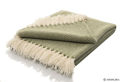 This green and cream hand-loomed #cashmere throw adds the perfect finishing touch to any bedroom.
