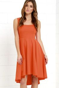 You obviously have some style momentum, so make sure the Course of Action Orange High-Low Dress keeps the ball rolling! Wide shoulder straps meet a squared-off neckline and fitted waist. A full knit skirt descends, forming a lovely high-low silhouette. Hidden back zipper. #CuteDresses #TrendyTops, #FashionShoes #JuniorsClothing