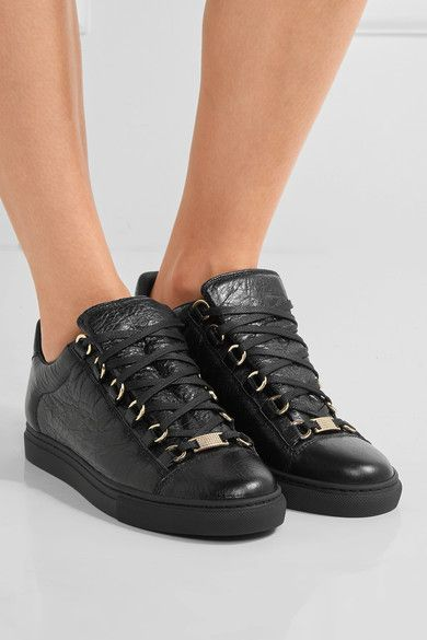 BALENCIAGA Arena black crinkled-leather sneakers