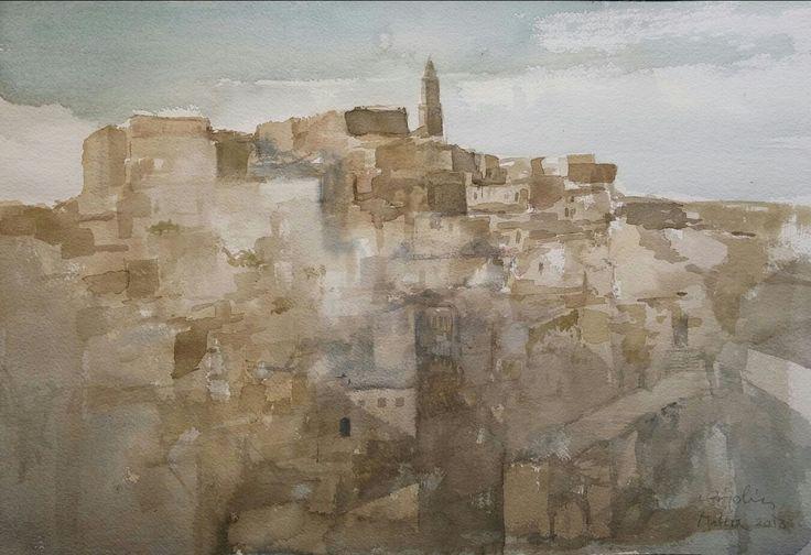 Matera - Acquerello di Sergio Bigolin - 2013