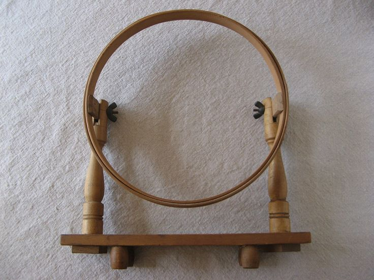 Antique embroidery hoop with stand monograms
