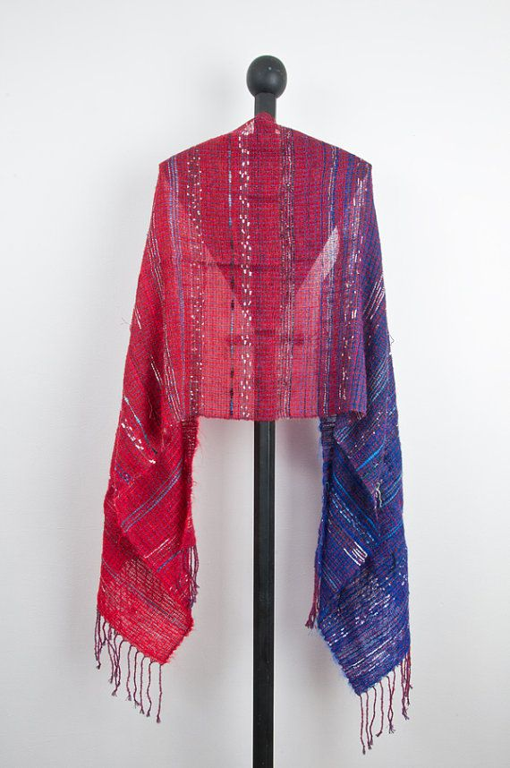 Hand woven scarf in Red to Purple  1001 by Timeja on Etsy, $135.00