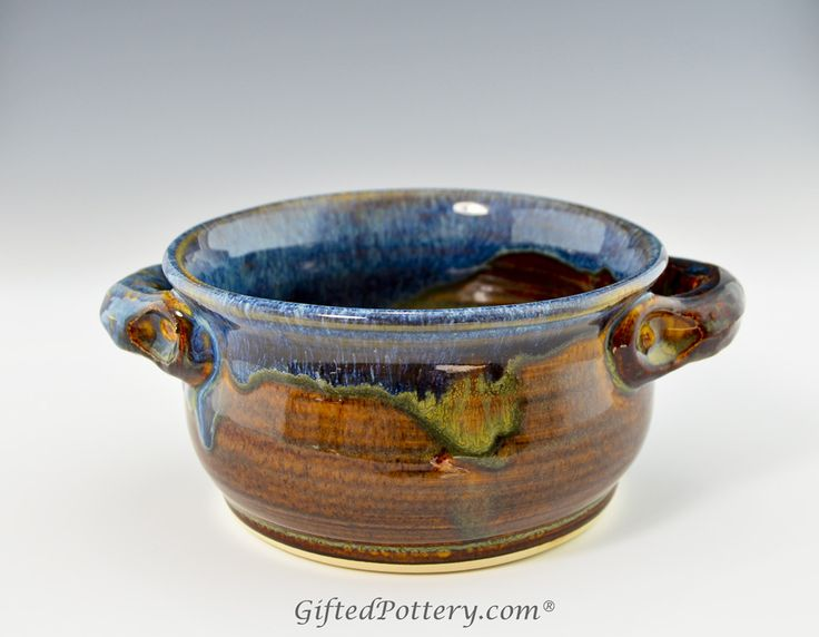 pottery soup bowls with handles | Handmade Stoneware Chili / Soup Bowl w Handles, Blue Brown Glaze