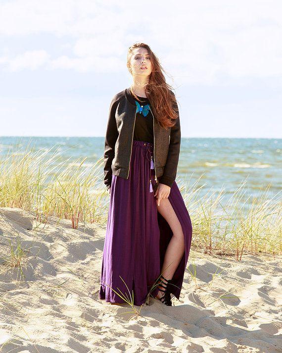 Boho maxi skirt soft smoothly flowing viscose knit by MagdalenaMol