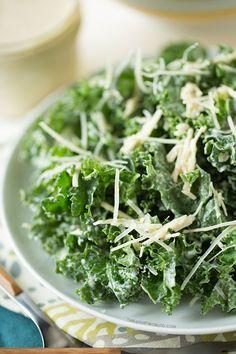 Lightened Up Kale Caesar Salad on tablefortwoblog.com