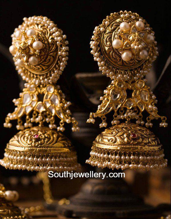 Antique Gold Nakshi Jhumkas