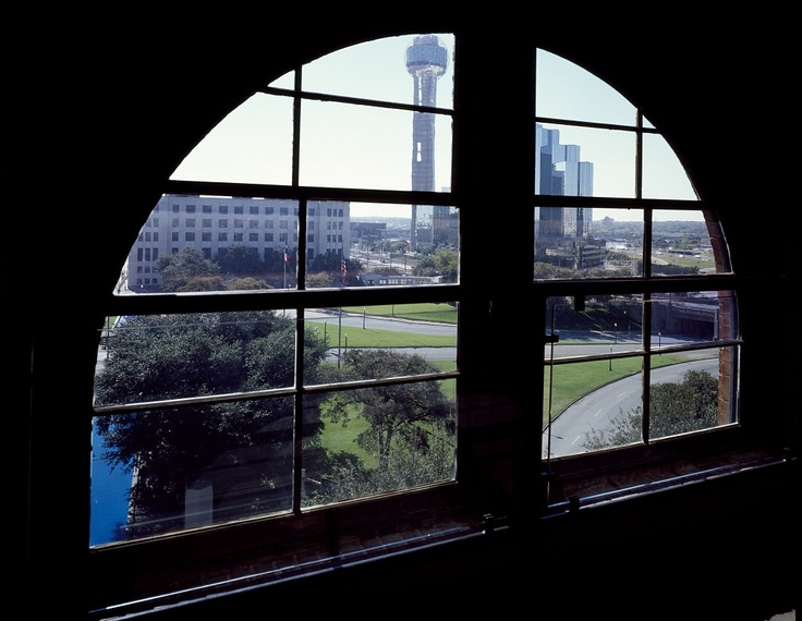 Sixth-floor window of the Texas School Book Depository in Dallas, Texas, from which, according to the Warren Commission, Lee Harvey Oswald killed President John F. Kennedy.