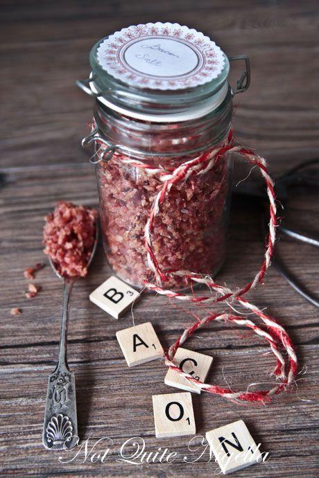 DIY bacon salt recipe: 1# bacon, sea salt & fresh ground pepper.  Would be great on salads, veggies, etc.