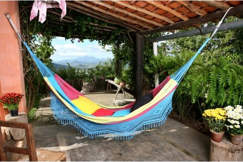 Large Aqua Marina Stripe Hand Woven Brazilian Hammock with Fringe - Hammocks at Hayneedle