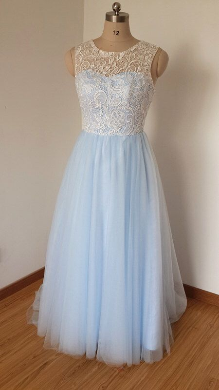 SEE IF IT CAN BE SHORTENED 2015 Scoop Sweetheart Ivory Lace Light Sky Blue Tulle Long Prom Dress with Back Buttons by DressCulture on Etsy https://www.etsy.com/listing/221356927/2015-scoop-sweetheart-ivory-lace-light