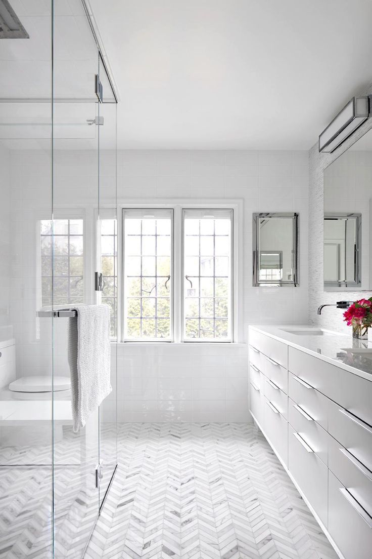 11 Bright White Bathrooms Modern Master Bathroom