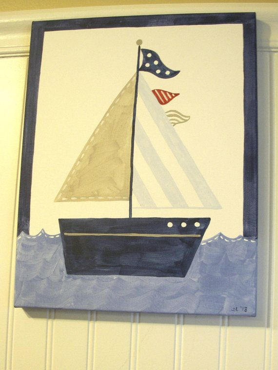 """11 x 14 """"row your boat 2"""" original painting..boy room decor..baby nursery wall art..kids painted artwork..red blue pottery barn harper tyler"""