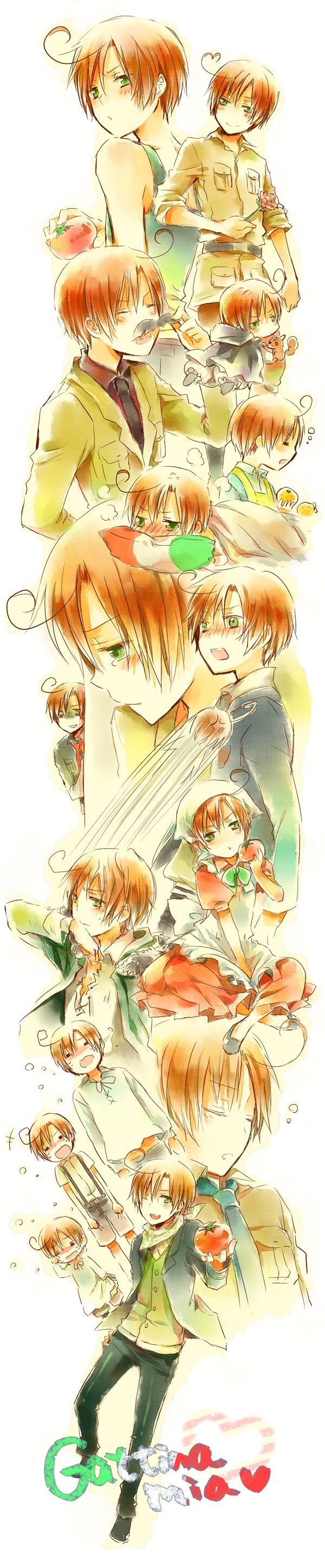 Hetalia - Romano<--- I once told Lovi that if I ever got blind, I would remember how he smiled when I compliment him. I would remember how he would blush when I tease him, and I would sadly remember how he would cry... But besides that, I would be happy because I remember everything about him that made me fall in love with him.