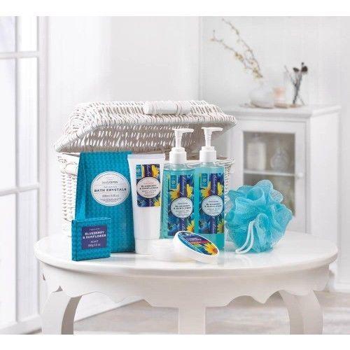 Blueberry & Sunflower Spa Basket. Don't let summer slip away! Material: Willow and Plastic. | eBay!