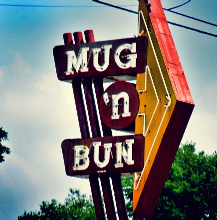 Mug 'N Bun, Indianapolis, Indiana. Delicious root beer, dark and full of character, is served in thick frosty mugs alongside hamburgers, hot dogs, and fried pork tenderloin sandwiches.