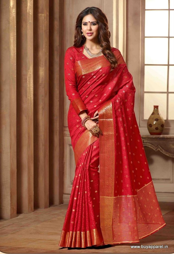 Red Silk Party Wear Traditional Saree Buy Apparel