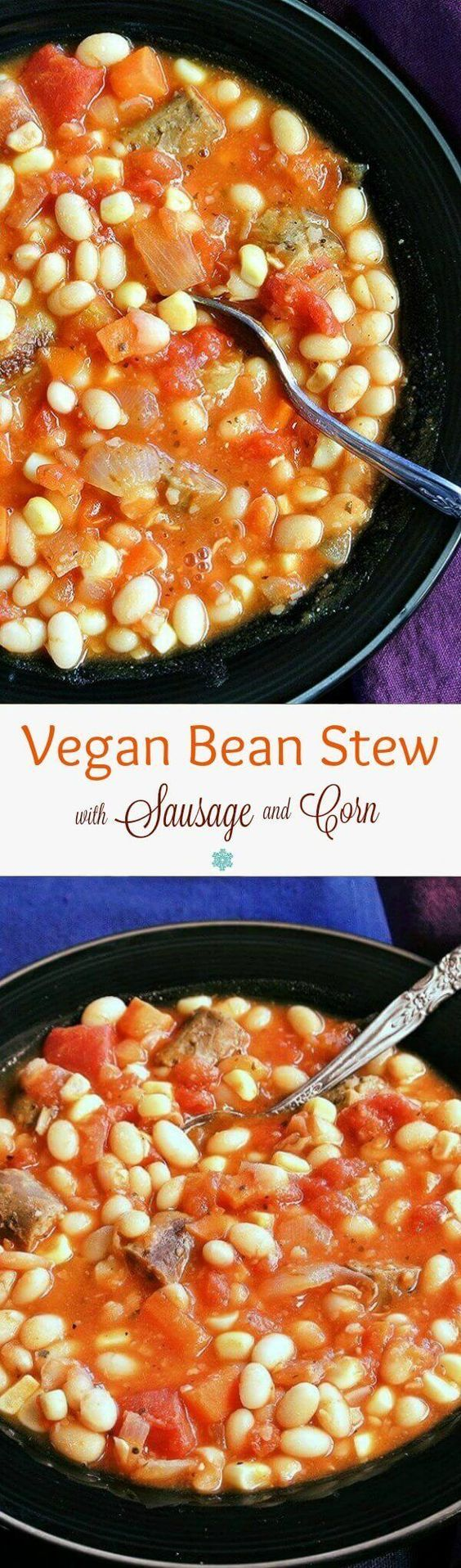 Vegan Bean Stew is a comfort food favorite. The stew has fresh carrots and corn off the cob. To make it traditional there's also plant based sausage. ~ veganinthefreezer...