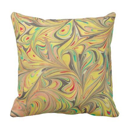 Waves of Colors EBRU ART (Turkish Marble Art) D#1 Throw Pillow - home gifts ideas decor special unique custom individual customized individualized