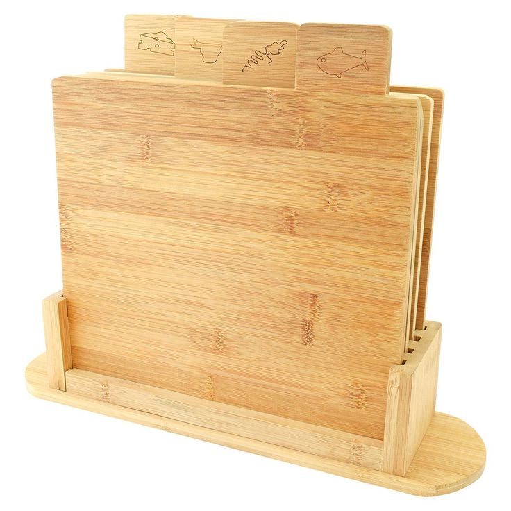 5pc Bamboo Wooden Chopping Board Set Symbol Coded Cutting Slicing Board Stand | eBay