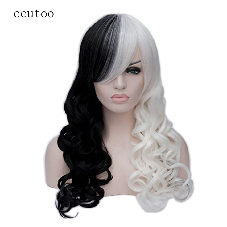 ccutoo 65cm Female's half Black and Whtie WavyLong Synthetic Hair Heat Resistance Party Cosplay Full Wigs Peluca