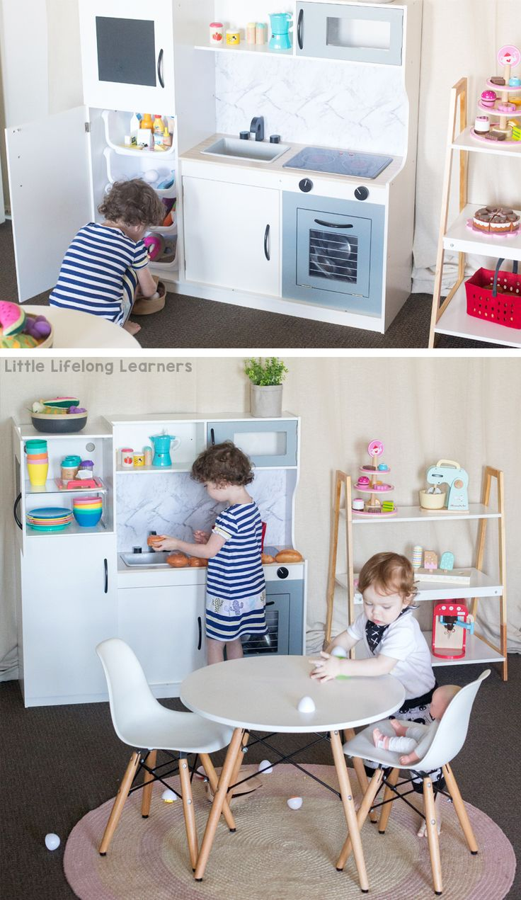 Kmart kitchen hack | kids play kitchen reno | DIY play kitchen ideas | toy kitchen storage ideas | Toddler, preschooler and kindergarten play ideas | Role-play and dramatic play ideas | play room and toy room ideas |
