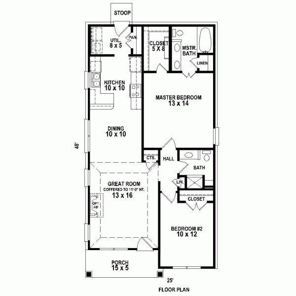 Traditional house plan 47550 traditional house plans for 2 bedroom shotgun house plans