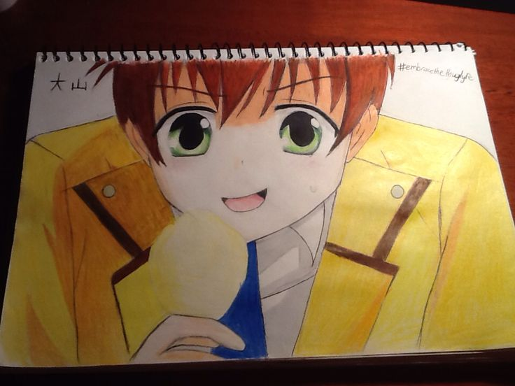 Ooyama from Angel Beats! As you can see, Ooyama takes the thuglyfe very seriously. He's EATING IN CLASS! What a little rebel! I wrote his name in japanese in the top corner! By Chloe pash!