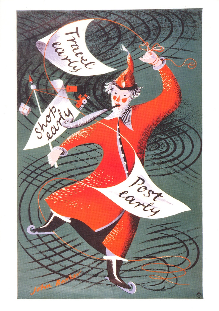 £2.50 - Greetings card - The Travel Shop Post Early (Father Christmas) poster from 1951 by John Rowland Barker a.k.a. Kraber - available from http://www.postalheritage.org.uk/page/greetings-earlyfather