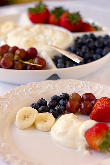 Fruit Dip    Yield: 8 to 10 servings    Prep Time: 5 minutes    8-ounce package cream cheese, at room temperature  7-ounce jar marshmallow creme    In a bowl, stir together the cream cheese and marshmallow creme until thoroughly combined.    Serve with your favorite fruit.