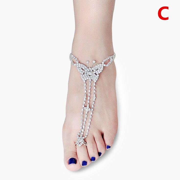 Silver Foot Bracelet Jewelry Women Sexy Rhinestone Barefoot Sandalsbeach Brida Wedding Accessories