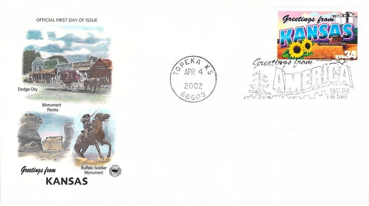 2002 Greetings From Kansas Hand Colored PCS First Day Cover