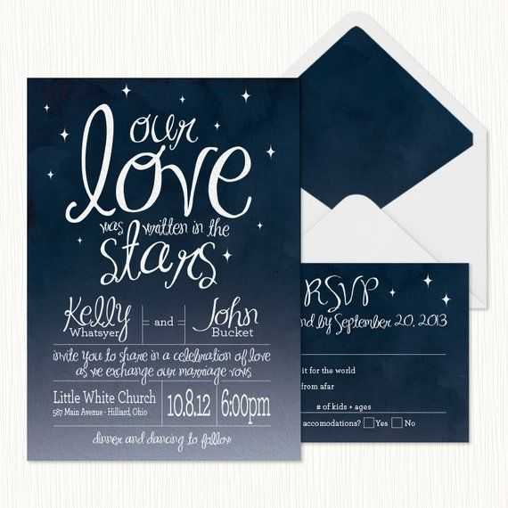 In The Stars Wedding Invitation Printable Products Pinterest