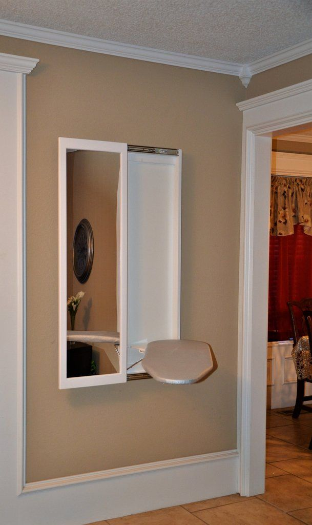 *FREE SHIPPING* Our mirror ironing board uses an acrylic mirror that comes with a removable protective film layer. Wall mounted unit, full swivel with safety latch.