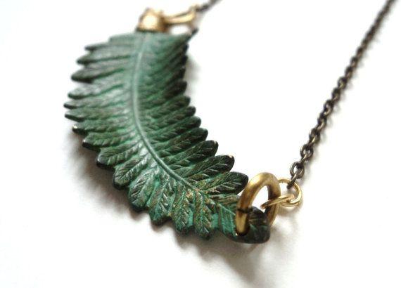 Verdigris patina fern necklace https://www.etsy.com/listing/67145105/fern-necklace-verdigris-green-nature