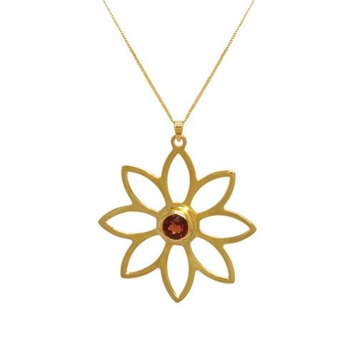 Namaqua Daisy Flower Necklace • Red Garnet • Yellow Gold