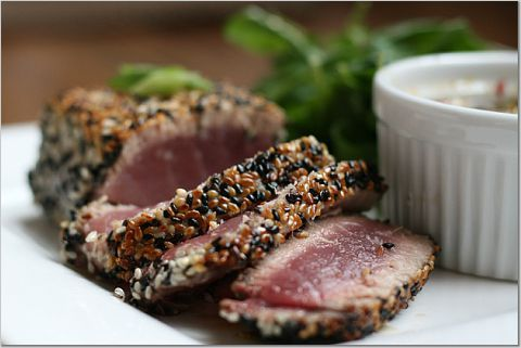 Sesame-Crusted Tuna with Ponzu Sauce « The Kitchen Sink