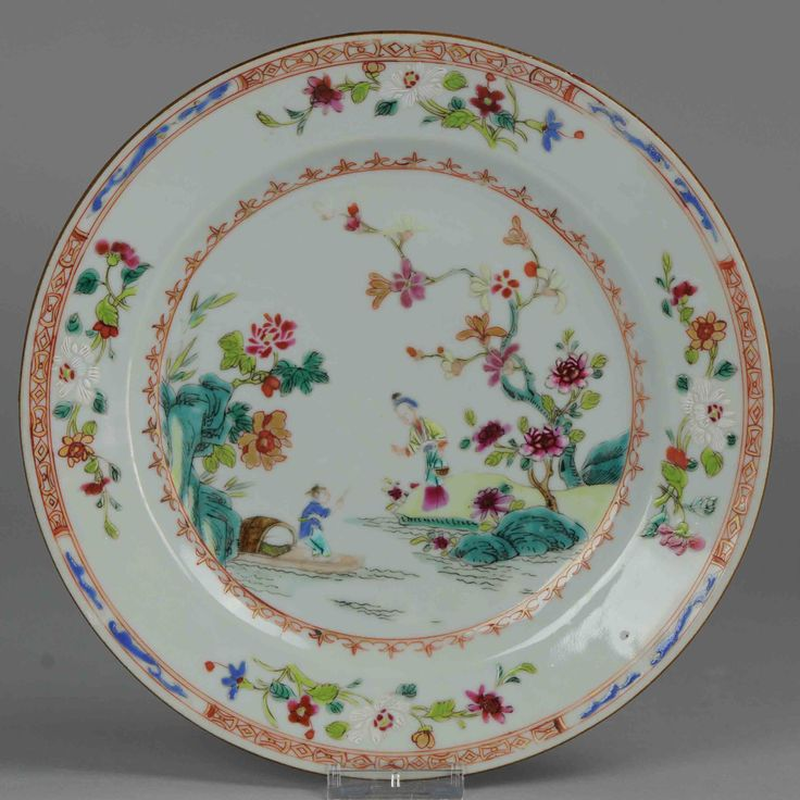 18C Chinese Porcelain Famille Rose Rare Lovely and rare g 18C Chinese Porcelain plate high & 119 best Chinese antique porcelain plates images on Pinterest ...