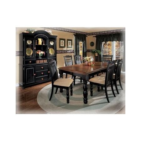 Black Cherry Stain Rectangular Dining Room Table By
