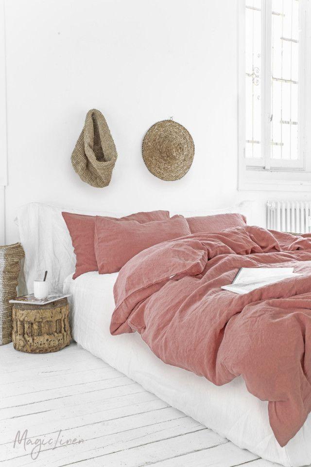 Rust Pink Linen Duvet Cover Set 3 Pcs Pink Bed Sheets Bed Linen Sets Bed Linens Luxury