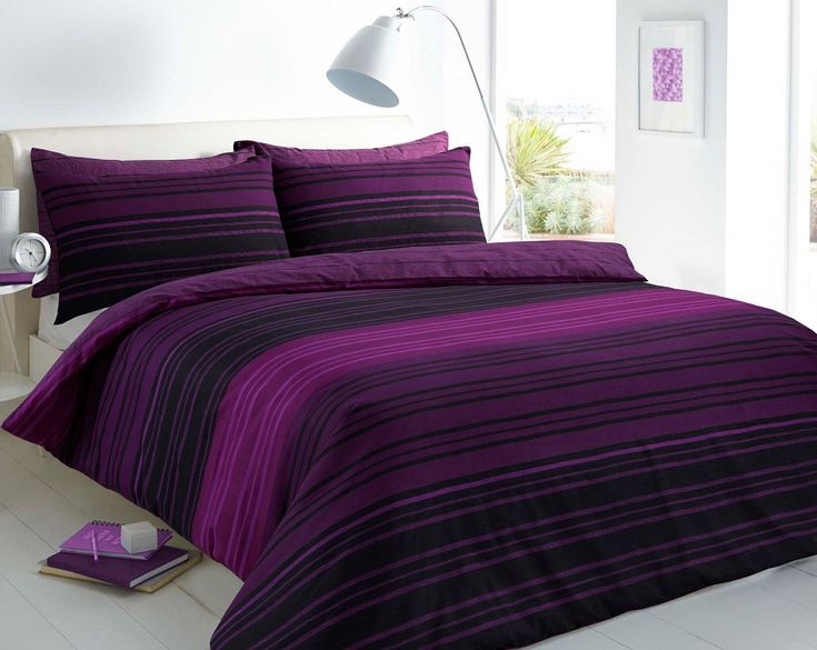 Texture Stripe Purple Duvet Quilt Cover Bedding Set — Linens Range