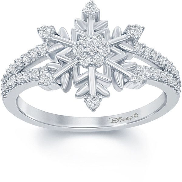 "Enchanted by Disney 1/4 C.T. T.W. Diamond ""Frozen"" Snowflake Ring In... ($187) ❤ liked on Polyvore featuring jewelry and rings"