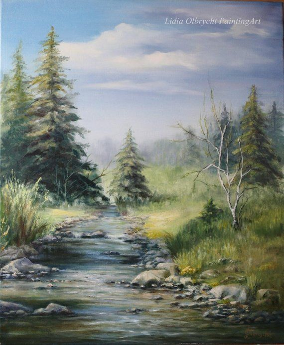 Mountain Landscape Spring In The Mountains River Valley Handmade Size 54x65 Cm Materials 1 Spring Landscape Landscape Paintings Landscape Paintings Acrylic