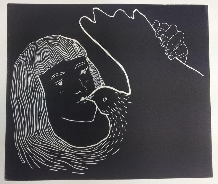 Rushka Gray lino print 'All of her'
