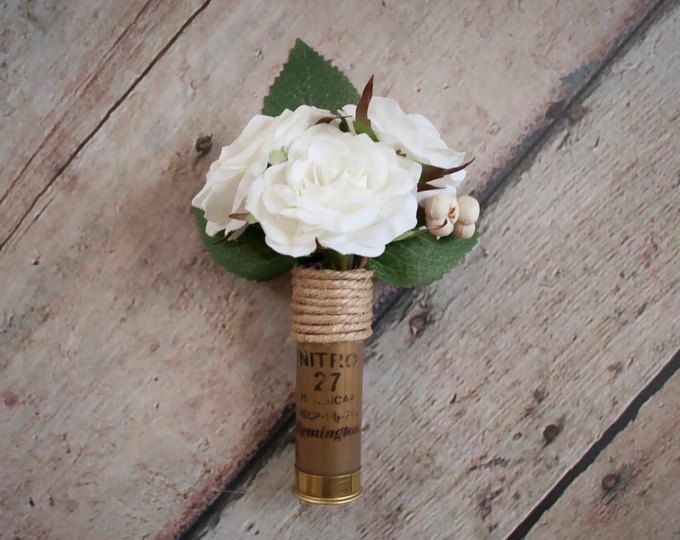 Shotgun Shell Wedding Boutonniere with Ivory Roses