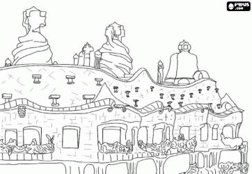 desenho de La Pedrera ou Casa Mila por Gaudi no Passeig de Gràcia no Eixample em Barcelona para colorir